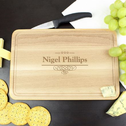 Personalised Large Chopping Board - Decorative Swirl